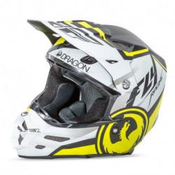 přilba F2 Carbon Dragon Air, FLY RACING - USA (matná bílá/černá/žlutý fluo žlutá)