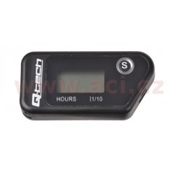 měřič motohodin bezdrátový s nulovatelným počítadlem, QTECH (černý)