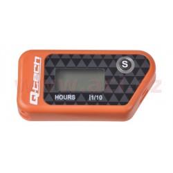 měřič motohodin bezdrátový s nulovatelným počítadlem, QTECH (oranžový)