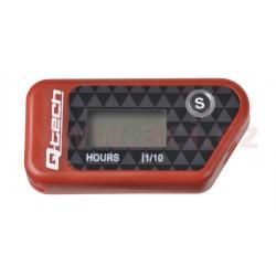 měřič motohodin bezdrátový s nulovatelným počítadlem, QTECH (červený)
