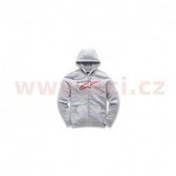 mikina s kapucí AGELESS FLEECE, ALPINESTARS (šedá/červená)