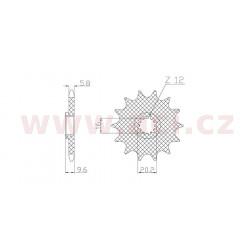řetězové kolečko pro sekundární řetězy typu 420, SUNSTAR (13 zubů)