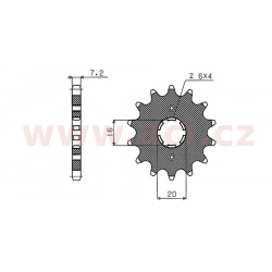 řetězové kolečko pro sekundární řetězy typu 428, SUNSTAR (13 zubů)