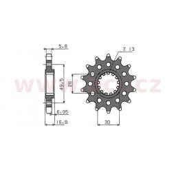 řetězové kolečko pro sekundární řetězy typu 520, SUNSTAR (16 zubů)