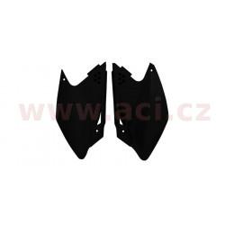 boční číslové tabulky Kawasaki, RTECH (černé, pár)