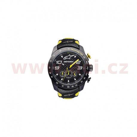hodinky TECH RACE CHRONO, ALPINESTARS (černá/žlutá, kožený pásek)