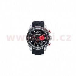 hodinky TECH MULTI CHRONO, ALPINESTARS (broušený nerez/černá/červená, pryžový pásek)