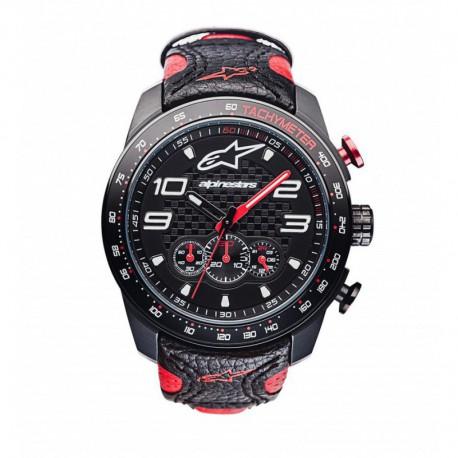 hodinky TECH RACE CHRONO, ALPINESTARS - ITÁLIE (černá/červená, kožený pásek)