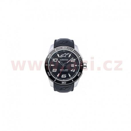 hodinky TECH STEEL, ALPINESTARS - ITÁLIE (broušený nerez/černá, pryžový pásek)