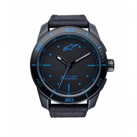 hodinky TECH PVD, ALPINESTARS - ITÁLIE (černá/modrá, textilní pásek)
