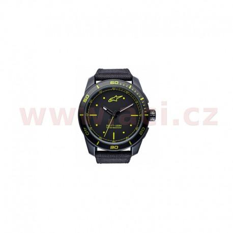 hodinky TECH PVD, ALPINESTARS - ITÁLIE (černá/žlutá, textilní pásek)