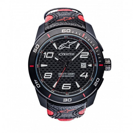 hodinky TECH RACE, ALPINESTARS - ITÁLIE (černá/červená, kožený pásek)
