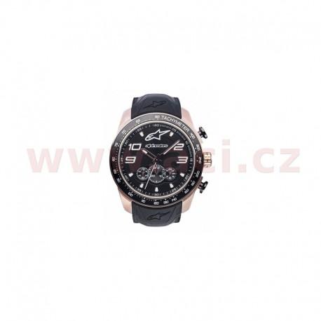 hodinky TECH CHRONO PVD GOLD ROSE, ALPINESTARS - ITÁLIE (zlatá/černá, pryžový pásek)