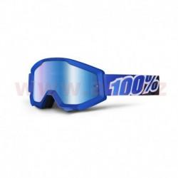 brýle Strata Lagoon, 100% - USA (modrá, modré chrom plexi s čepy pro slídy)