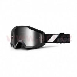 brýle Strata Goliath, 100% - USA (černá, stříbrné chrom plexi s čepy pro slídy)