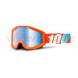 brýle Strata Orange, 100% - USA (oranžová, modré chrom plexi s čepy pro slídy)