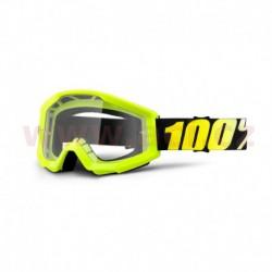 brýle Strata Neon Yellow, 100% - USA, (žlutá, číré plexi s čepy pro slídy)