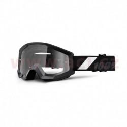 brýle Strata Goliath, 100% - USA (černá, čiré plexi s čepy pro slídy)