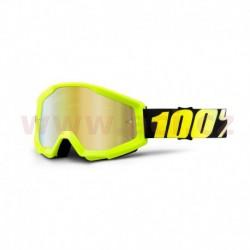 brýle Strata Neon Yellow, 100% - USA (žluté, zlaté chrom plexi s čepy pro slídy)