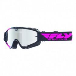 brýle Zone RS, FLY RACING - USA (černé/růžové, zrcadlové plexi s čepy pro slídy)