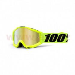 brýle Accuri JR Fluo Yellow, 100% - USA dětské (žlutá, červené chrom plexi s čepy pro slídy)