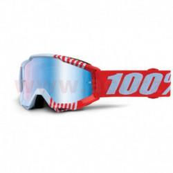brýle Accuri JR Cupcoy, 100% - USA dětské (bílá/červená, modré chrom plexi s čepy pro slídy)