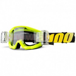 brýle Strata Mud. Jr Neon Yellow, 100% - USA dětské (číré plexi s Roll Off)