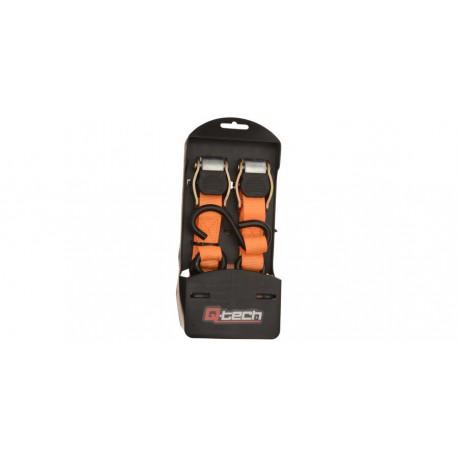 upínací popruhy s rychloupínací spojkou (šířka 25 mm / délka 1,8 m / nosnost 450 kg), QTECH (1 pár, oranžové)