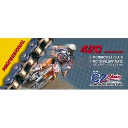 řetěz 420MX, ČZ - ČR (barva zlatá, 124 článků vč. rozpojovací spojky CLIP)