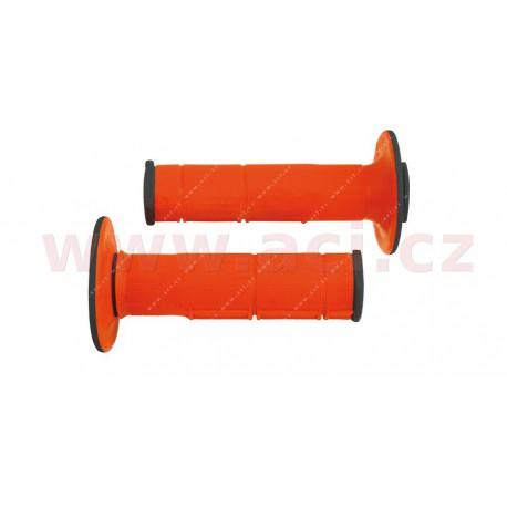 gripy Racing (dvouvrstvé, měkké), RTECH - Itálie (oranžovo-černé, pár, délka 116 mm)
