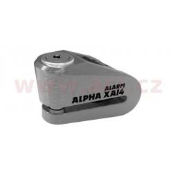zámek kotoučové brzdy Alpha Alarm XA14, OXFORD - Anglie (integrovaný alarm, broušený kov, průměr čepu 14 mm)