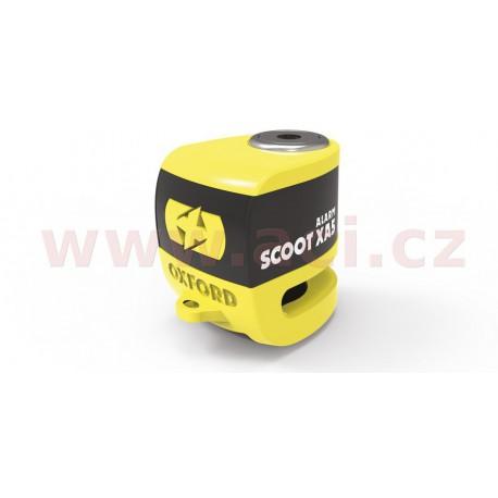 zámek kotoučové brzdy Scoot XA5, OXFORD - Anglie (integrovaný alarm, žlutý/černý, průměr čepu 5,5 mm)