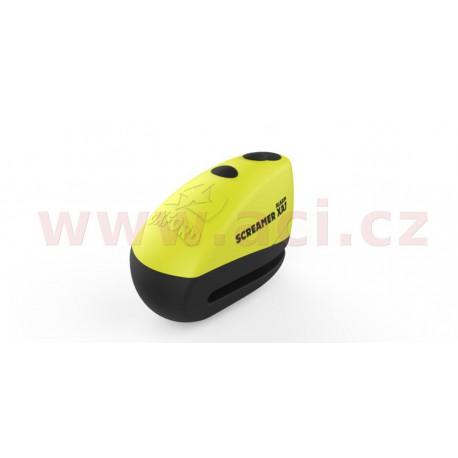 zámek kotoučové brzdy Screamer XA7, OXFORD - Anglie (integrovaný alarm, žlutý/černý, průměr čepu 7 mm)