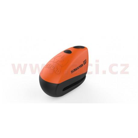 zámek kotoučové brzdy Screamer XA7, OXFORD - Anglie (integrovaný alarm, oranžový/černý, průměr čepu 7 mm)