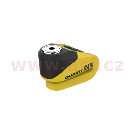 zámek kotoučové brzdy Quartz Alarm XA10, OXFORD - Anglie (integrovaný alarm, žlutý/černý, průměr čepu 10 mm)
