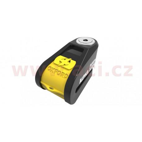 zámek kotoučové brzdy Alpha Alarm XA14, OXFORD - Anglie (integrovaný alarm, žlutý/černý, průměr čepu 14 mm)