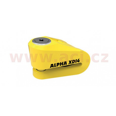 zámek kotoučové brzdy Alpha XD14, OXFORD - Anglie (žlutý, průměr čepu 14 mm)